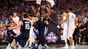 Kris Jenkins celebrates with his Villanova teammates after his buzzer-beating three-pointer (Getty Images)